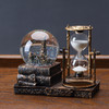 复古水晶球沙漏计时器创意摆件酒柜客厅家居装饰品桌面房间电视柜