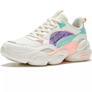 361° 女款复古鞋 682016789-137004  羽毛白/嫩桃粉 40