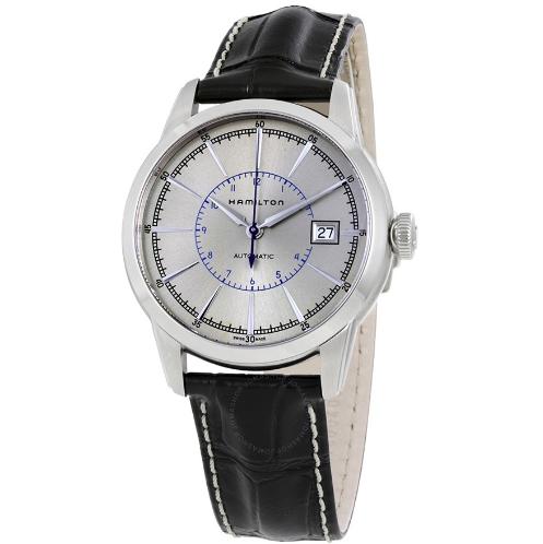 HAMILTON 汉米尔顿 美国经典系列 H40555781 40mm 男士机械手表 银盘 黑色牛皮表带 圆形