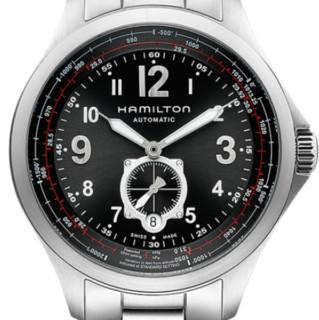 HAMILTON 汉米尔顿 卡其航空系列 H76655133 男士机械手表 42mm 黑盘 银色不锈钢表带 圆形