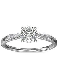Blue Nile 0.70克拉圆形切割钻石(切割EX、成色G、净度VS1)+ 14K白金钻石订婚戒指(1/10 克拉总重量)