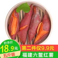 福建六鳌蜜薯 地瓜红薯香甜糯可煮烤蒸吃特产新鲜蔬菜 5斤小果(带箱)