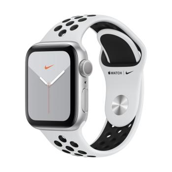 限地区:Apple Watch Series 5智能手表(Nike GPS款 40毫米 银色铝金属表壳 白金配黑色运动表带 MX3R2CH/A)