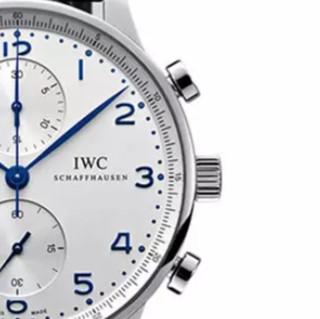 IWC 万国 葡萄牙系列 IW371446 男士机械手表 40.9mm 白盘 蓝色皮革表带 圆形