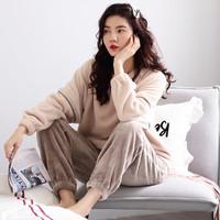 新品珊瑚绒300g法兰绒加绒加厚居家舒适女士家居服套装长袖睡衣女