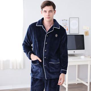 芬腾加厚珊瑚绒睡衣男士秋冬款开衫长袖大码加绒法兰绒家居服套装