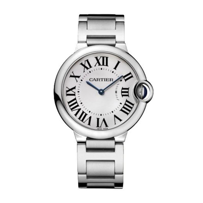 Cartier 卡地亚 BALLON BLEU DE CARTIER腕表系列 W69011Z4 中性石英手表 36.6mm 白盘 银色不锈钢带 圆形