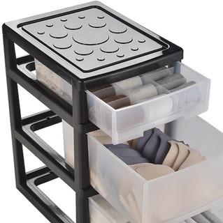 BELO 百露 塑料收纳盒 3层*56.5*43cm 透明黑A