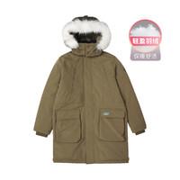 斯凯奇冬装男款梭织保暖防风带毛领男款羽绒服长款