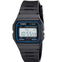 CASIO 卡西欧 EAW-F-91W-1 男士电子手表 33mm 黑盘 黑色塑料表带 方形