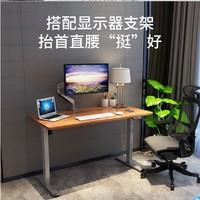 乐歌电动升降桌站立式电脑桌台式 站立办公桌书桌折叠桌电脑升降台显示器支架现代简约家用写字桌E2加宽/银灰