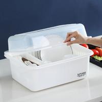 厨房沥水碗架带盖塑料放碗碟架碗盘置物架碗筷餐具收纳盒碗柜