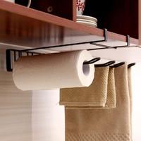 棕色下挂四格厨房纸巾架 免钉无痕橱柜毛巾收纳架整理架置物架