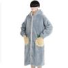 DAPU 大朴 果果系列女士纽扣连帽长款宽松保暖睡袍 蓝色L
