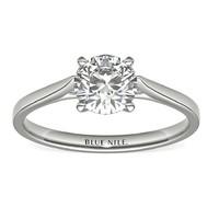 Blue Nile 1.07克拉圆形切割钻石(切工EX,成色F,净度VVS2)+ 14k白金单石订婚戒指