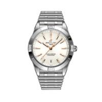 BREITLING 百年灵 机械计时系列 A10380101A2A1 女士机械手表 36mm 白盘 银色精钢表带 圆形