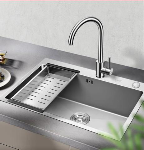 VATTI 华帝 304不锈钢手工加厚水槽洗碗池 大容量单槽洗菜盆 配360°自由旋转健康环保厨房水龙头 092106