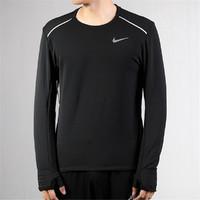 男装新款加绒圆领运动跑步长袖上衣T恤