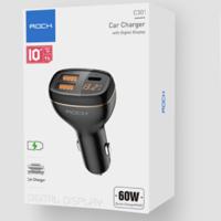 ROCK 洛克 C301智能数显车充 60W MAX Type-C/USB *2件 +凑单品