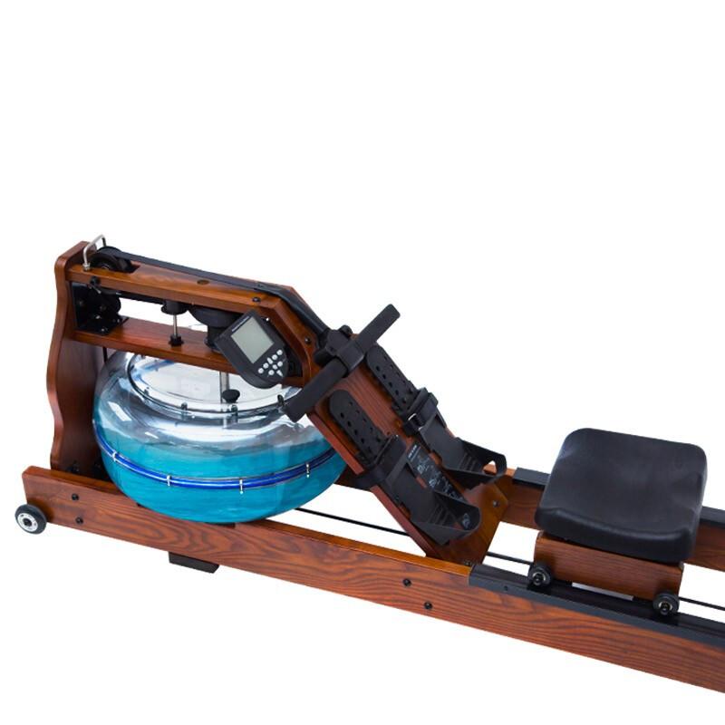 德钰 划船机木质水阻健身房家用室内划船器纸牌屋 美国白蜡木黑胡桃木色