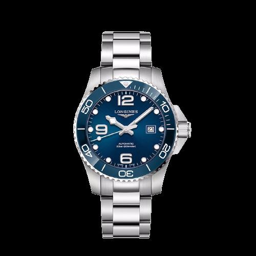 LONGINES 浪琴 康卡斯潜水系列 L37824966 男士机械手表 43mm 蓝盘 银色精钢陶瓷带 圆形