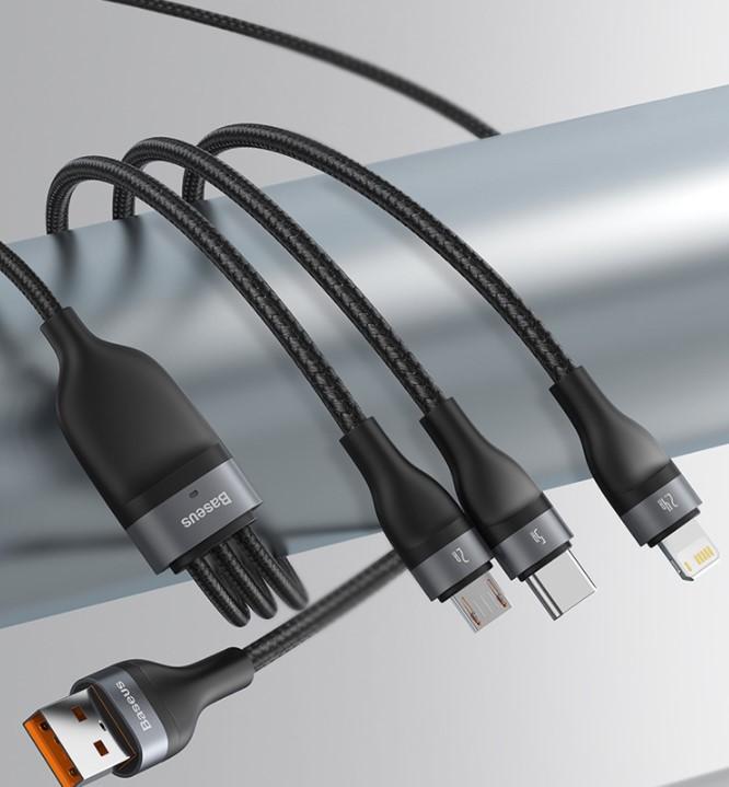 倍思 一拖三数据线5A快充40W1.2米 支持苹果Type-c安卓手机充电器线iPhone12/11小米oppo华为三合一冲电线黑