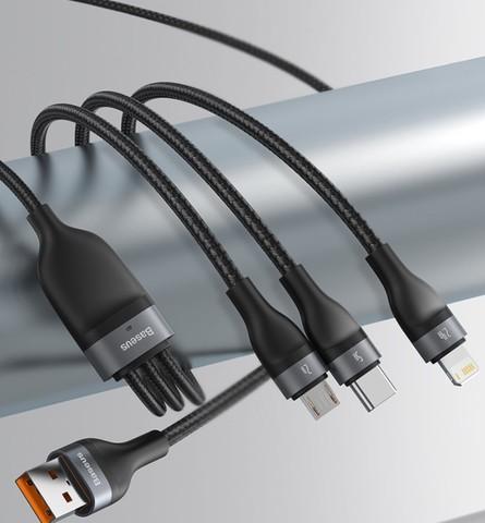 倍思 三合一数据线5A/6A快充66W/40W支持苹果Type-c安卓手机充电器线iPhone12/11小米oppo华为一拖三充电线黑