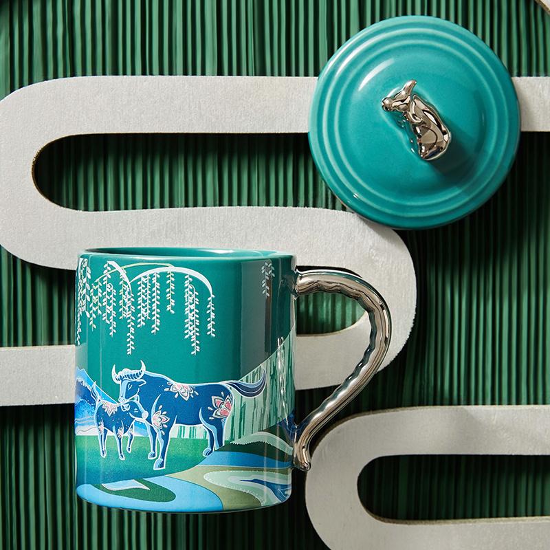 共禾京品牛年中国风马克杯国潮大容量水杯咖啡杯周大福联名款礼盒