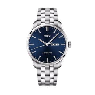 MIDO 美度 BELLUNA布鲁纳系列 M024.630.11.041.00 男士机械手表 42.5mm 蓝盘 银色不锈钢表带 圆形