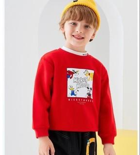 Disney 迪士尼 儿童加厚不倒绒圆领卫衣