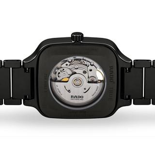 RADO 雷达 True真系列 R27086162 男士机械手表 38mm 镂空盘 黑色陶瓷表带 方形