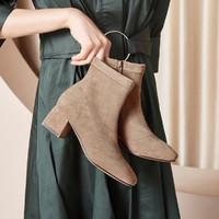 加绒秋冬季女鞋子短靴新款时装靴粗跟女士英伦风女靴子