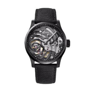 MIDO 美度 舵手系列 M032.605.47.410.00 男士机械手表 44mm 黑盘 黑色织物表带 圆形
