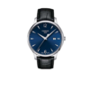 TISSOT 天梭 俊雅系列 T063.610.16.047.00 男士石英手表 42mm 蓝盘 黑色皮质表带 圆形
