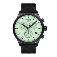 TISSOT 天梭 速驰系列 T116.617.37.091.00 男士石英手表 45mm 绿盘 黑色尼龙表带 圆形