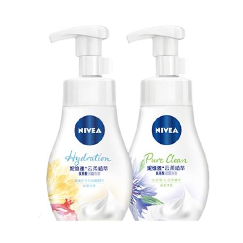 NIVEA 妮维雅 妮维雅(NIVEA)云柔植萃氨基酸洁面泡泡洗面奶 控油180ml+保湿180ml