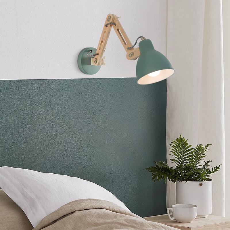 北歐伸縮搖臂長臂壁燈臥室書房兒童房簡約現代創意實木床頭閱讀燈