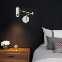 壁燈臥室床頭燈閱讀現代簡約輕奢客廳書房折疊伸縮搖臂LED墻壁燈