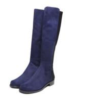 STUART WEITZMAN 斯图尔特·韦茨曼 5050系列女士反毛羊皮拼接套脚低跟高筒靴 深蓝色35