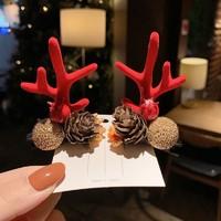 裳淇 圣诞节鹿角头饰发卡 颜色随机 三对装
