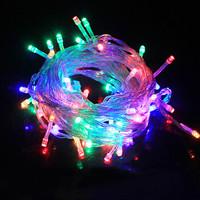 美煌 LED彩色灯串 红色10m 100灯色带尾接