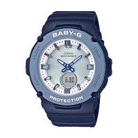 CASIO 卡西欧 BABY-G系列 BGA-2700-2A 女士电子手表 42.2mm 银盘 蓝色树脂表带 圆形