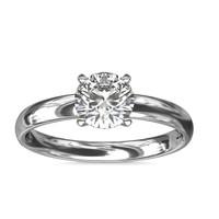【仅戒托】Blue Nile 60504 18k白金经典内圈卜身设计单石订婚戒指