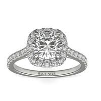 【仅戒托】Blue Nile 49864 铂金垫形光环钻石订婚戒指