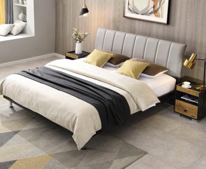 QuanU 全友 123102 简约工业风软靠板式床  1.8m床+床头柜
