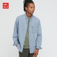 UNIQLO 优衣库 438480 男士牛仔衬衫(水洗产品)(长袖)