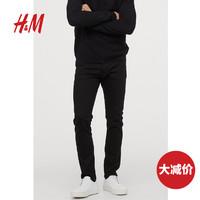 HM男装2020春秋新款 休闲长裤男 修身直筒水洗牛仔裤男0616598__1
