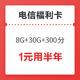 中国电信 全民福利卡(8G通用+30G定向+300分) 1元(需用券)