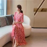 米兰茵(MILANYIN)女装 连衣裙夏雪纺森系长裙仙女超仙甜美气质裙子 NMLY039 蜜桃粉 L *2件