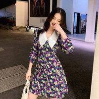 米兰茵(MILANYIN)女装碎花连衣裙女轻熟气质法式长裙复古小雏菊裙子NMLY122 紫色 L *2件